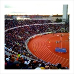A view of the track at Olympic Stadium in Helsinki.