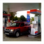 Filling up the tanks at a Teboil petrol station.