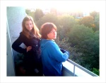Max and Emma on the balcony of my new place.