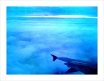A view from the plane as we approach a cloud covered Helsinki.
