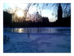 A view of the ice rink looking towards the rising sun.