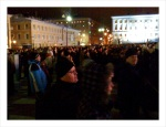 People in Helsinki watching the New Years show in Senate Square.