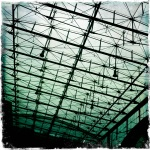 The steel bars and lights which make up the roof of the Helsinki Central Railway Station.